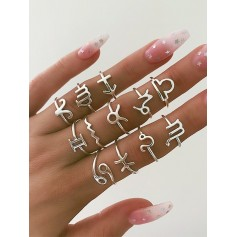 12Pcs Horoscope Star Rings Set - Silver