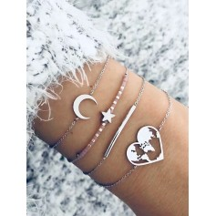 4Pcs Moon Star Heart Bracelet Set - Silver