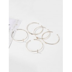 5Pcs Arrow Heart Cuff Bracelet Set - Gold