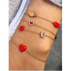 4Pcs Heart Lip Rhinestone Bracelet Set - Gold