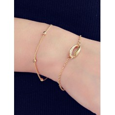 2 Piece Shell Chain Bracelet Set - Gold