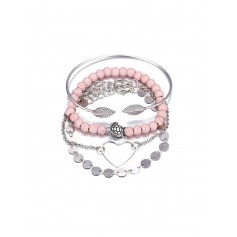 4 Piece Heart Disc Beaded Chain Bracelet Set - Silver