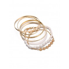 5 Piece Simple Shell Disc Chain Bracelet Set - Gold