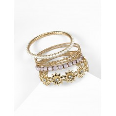 5 Piece Faux Pearl Rhinestone Floral Bangle Set - Gold