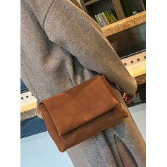 Chain Solid Cover Shoulder Bag - Light Brown