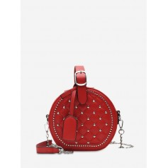 Chain Rhombic Rivet Small Round Shoulder Bag - Red Wine