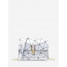 Cover Chain Geometric Crossbody Bag - Silver