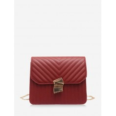 Crossbody Leather Shoulder Bag - Red Wine