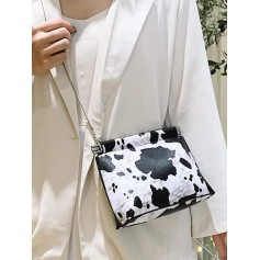 Cow Pattern Chain Messenger Bag - Black