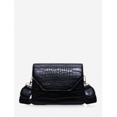 Animal Embossed Wide Strap Crossbody Bag - Black
