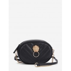 Crossbody Embossed Waist Bag - Black