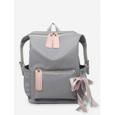 Bowknot And Letter Pattern School Backpack - Ash Gray
