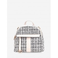 Casual Plaid Pattern Simple Backpack - White