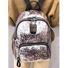 Colorful Sequin Zip Backpack - Pig Pink