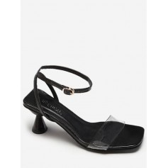 Clear Strap Strange Heel Sandals - Black Eu 36