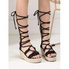 Strappy Gladiator Mid Calf Espadrille Sandals - Black 39