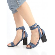 Vintage Polka Dot Block Heel Ankle Strap Sandals - Royal Blue 39