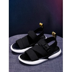 Elastic Band Buckled Sport Sandals - Black Eu 38