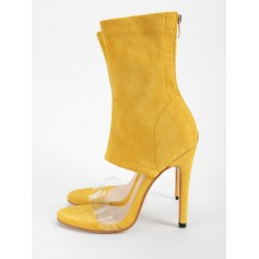 Transparent Strap Chic High Heel Bootie Sandals - Yellow 37