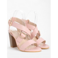 Chunky Heel Chic Crisscross Ankle Wrap Sandals - Light Pink 38