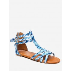 Bohemian Print Flat Sandals - Day Sky Blue Eu 39