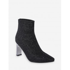 Glitter Pointed Toe Chunky Heel Boots - Black Eu 38