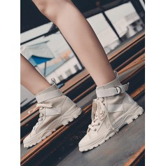 Buckle Lace-up Design Casual Boots - Light Khaki Eu 40