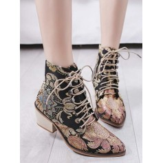 Flower Embroidery Lace Up Ankle Boots - Rose Gold Eu 38
