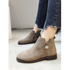 Button Detail Low Heel Ankle Boots - Light Khaki Eu 39
