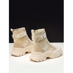 Casual Leather Trim Platform Short Boots - Beige Eu 38