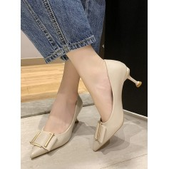 Simple Pointed Toe Buckle Decorated Pumps - Beige Eu 37