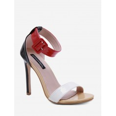 Buckle Strap Basic High Heel Sandals - Chestnut Red Eu 36