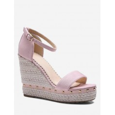 Ankle-strap Rivet Wedge Sandals - Pink Eu 34