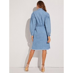 Light Wash Button Front Raw Hem Denim Shirt Dress