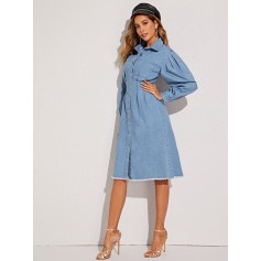 Light Wash Button Front Raw Hem Denim Shirt Dress