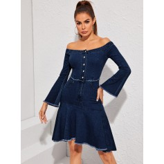 Off Shoulder Flounce Sleeve Ruffle Hem Denim Dress