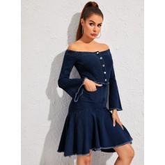 Off Shoulder Flounce Sleeve Ruffle Hem Denim Dress