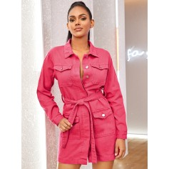 Belted Button Front Utility Denim Dress