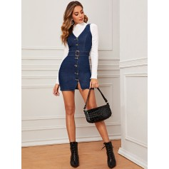 Buckle Belted Button Front Bodycon Denim Dress