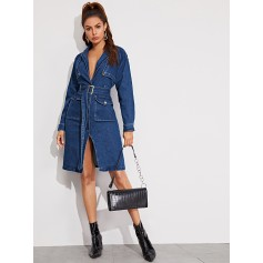 Notch Collar Flap Pocket Belted Denim Dress