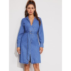Notch Collar Wrap D-ring Belted Denim Dress
