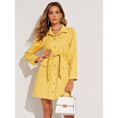 Yellow Wash Self Tie Denim Dress