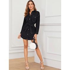 Black Wash Topstitching Belted Denim Dress