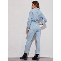 Light Wash Button Front Belted Utility Denim Jumpsuit