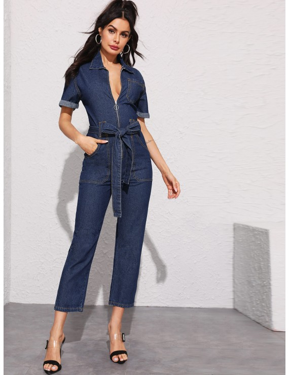 Dark Wash Topstitching Zip Through Belted Denim Jumpsuit