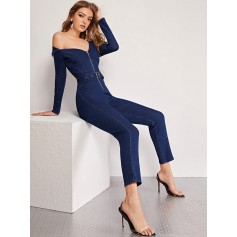 Off Shoulder Foldover Detail Buckle Belted Denim Jumpsuit