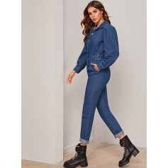 Puff Sleeve Pleated Detail Button Up Denim Jumpsuit