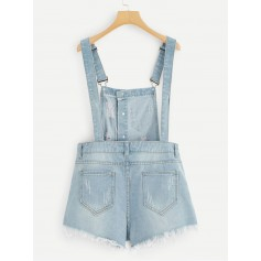 Raw Hem Ripped Denim Overalls