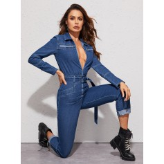 Zip Front Belted Denim Jumpsuit