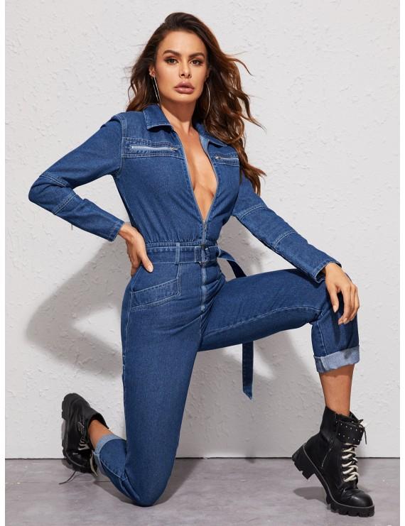 Zip Front Belted Denim Jumpsuit